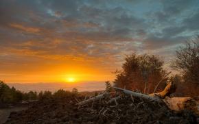Picture sunrise, morning, Italy, Sicily, Linguaglossa