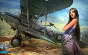 Wallpaper MMO, WoWp, World of Warplanes, aviation, BigWorld, girl, girl, air, World of aircraft, Wargaming.net, Persha ...