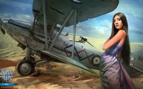 Wallpaper girl, the plane, desert, girl, aviation, air, MMO, Wargaming.net, World of Warplanes, WoWp, BigWorld, arcade, ...