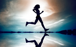 Picture the sky, water, girl, reflection, run.