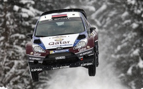 Picture Ford, Winter, Snow, Forest, Machine, Flight, WRC, Rally, Fiesta, In the air, Evgeny Novikov, Competition
