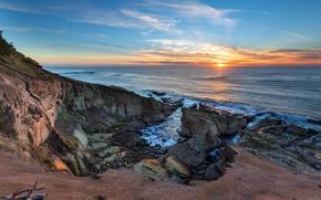 Picture beach, the ocean, dawn, coast, Oregon Coast