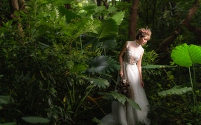 Picture forest, face, dress, walk, Asian