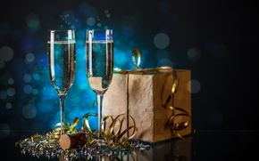 Wallpaper sequins, holiday, box, tinsel, gift, serpentine, bokeh, new year, glasses, champagne