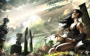 Wallpaper another world, girl with knigi