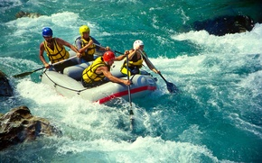 Picture boat, paddle, mountain, the descent, rafting, helmet, extreme, vest, river, for
