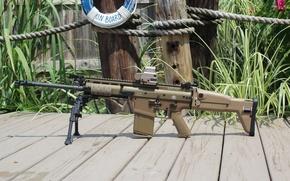 Picture weapons, machine, bipod, FN SCAR 17S, reflex sight, eo tech