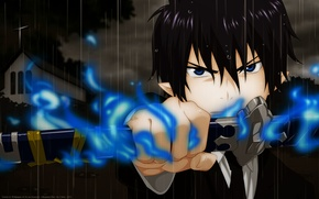 Picture background, sword, cutie, Rin, ao no exorcist, blue exorcist, Rin okumura, blue flame