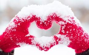 Picture love, heart, love, heart, snow, romantic, hands