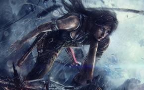 Picture girl, rain, bow, arrows, lara croft, tomb raider, tomb raider reborn