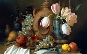 Picture still life, Picture, flowers, fruit, dishes