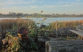Picture River, village, reed, Astrakhan