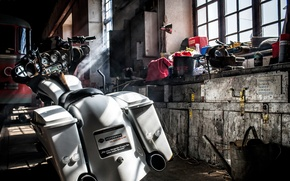 Picture background, garage, motorcycle