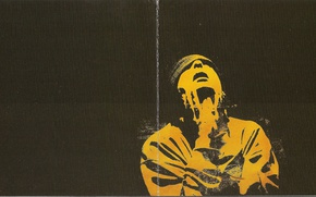 Picture yellow, hat, black background, 2004, Smoky Mo, Karate, Booklet