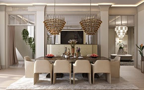 Picture design, table, room, chairs, interior, vase, chandeliers, dining room