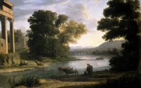 Picture animals, river, picture, Claude Lorrain, Landscape with a Shepherd