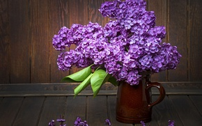 Picture leaves, table, bouquet, lilac