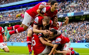 Picture background, Arsenal, tribune, players, Arsenal, Football Club, The Gunners, The gunners, Football club, celebrate