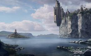 Wallpaper Rock, Water, The city