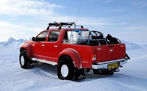 Picture winter, snow, ski, North pole, red, Toyota, north pole, hilux, arctic trucks