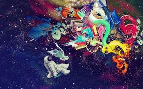 Picture music, colorful, space, blood, bird, texture, Graffiti, Guitar, stars, amazing, eye, paint, Astronaut, handmade, Imagination