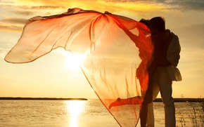 Picture girl, sunset, lake, the wind, fabric, guy