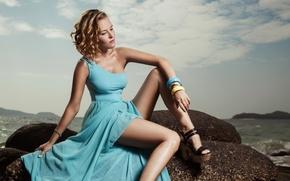 Picture sea, girl, stone, dress, shoes, bracelets