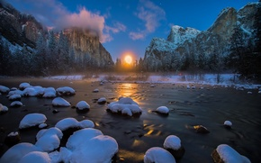 Picture winter, forest, snow, mountains, river, the moon, USA, Yosemite national Park, Yosemite National Park, Gates …