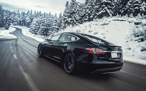 Picture snow, mountains, movement, track, electric car, Tesla Model S