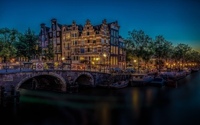 Picture bridge, building, Amsterdam, channel, Netherlands, night city, Amsterdam, Netherlands, Brewers' Canal, The Brewers Canal, Brouwersgracht