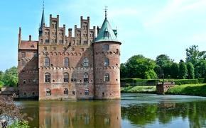 Picture trees, bridge, pond, castle, Denmark, the bushes, Egeskov