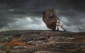 Picture girl, stone, boulder, Hercules