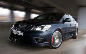 Picture background, Wallpaper, speed, black, Skoda, Octavia RS