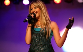 Picture smile, blonde, microphone, singer, Ashley Tisdale
