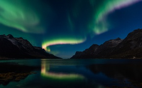 Picture stars, mountains, night, Northern lights