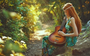 Picture girl, guitar, redhead, Spring song