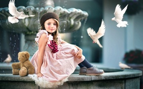 Picture bear, pigeons, girl, Ashlyn Mae, Courtyard Beauty