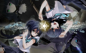 Picture magic, star, chain, blue eyes, Schoolgirls, black rock shooter, green eyes, sailor, four girls