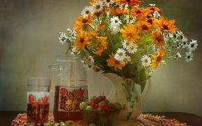 Picture summer, bouquet, currants, gooseberry, compote