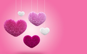 Wallpaper hearts, love, fluffy, pink, hearts, fluffy