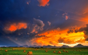 Picture field, the sky, clouds, sunset, hay, glow