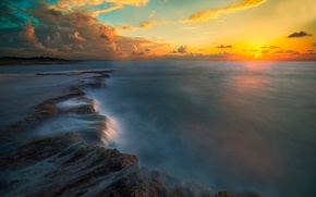 Picture sea, the sky, the sun, clouds, sunset
