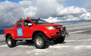 Picture the sky, clouds, snow, red, jeep, SUV, Arctic Trucks Toyota Hilux