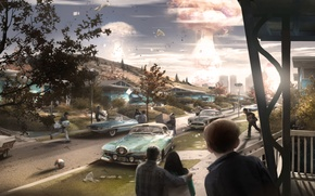 Picture Fallout 4, Bethesda, Bethesda Softworks, concept, home, panic, people, machine, the explosion, concept art, the ...