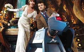 Picture smile, woman, robot, interior, dog, dog, male, actors, the bride, Doctor Who, console, Doctor Who, …