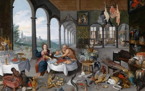 Picture picture, genre, Jan Brueghel the younger, Taste, Allegory Of The Five Senses