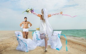 Picture sea, beach, girl, flowers, glass, guy, the bride, veil