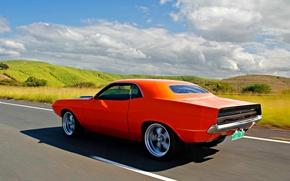 Picture Dodge, Challenger, 1970, clouds, orange, In motion, sunny, Dodge Challenger, rollin