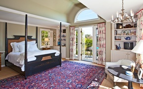 Picture room, chandelier, interior, carpet, bed, Wallpaper, TV, Villa, bedroom, chair, balcony, table, nature, house, wallpaper, …
