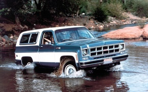 Picture river, background, jeep, SUV, the front, GMC, 1978, Ford, Jimmy